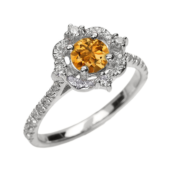 White Gold Genuine Citrine And Diamond Dainty Engagement Proposal Ring