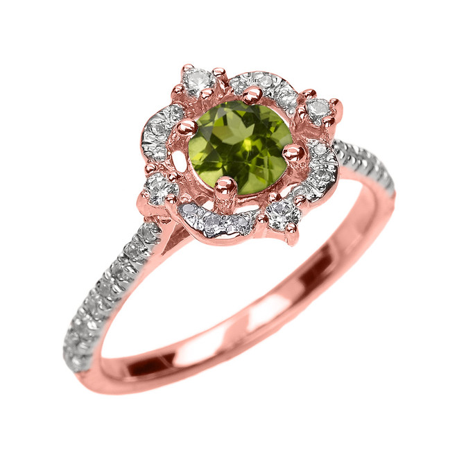 Rose Gold Genuine Peridot And Diamond Dainty Engagement Proposal Ring