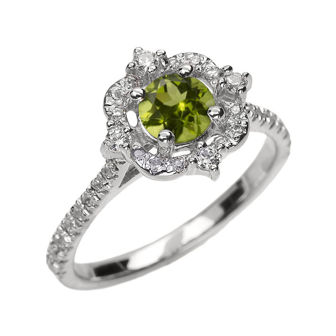 White Gold Genuine Peridot And Diamond Dainty Engagement Proposal Ring