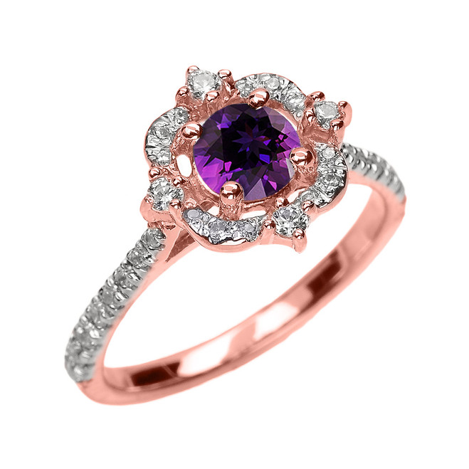 Rose Gold Genuine Amethyst And Diamond Dainty Engagement Proposal Ring
