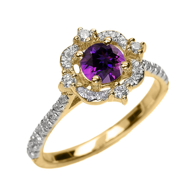 Yellow Gold Genuine Amethyst And Diamond Dainty Engagement Proposal Ring