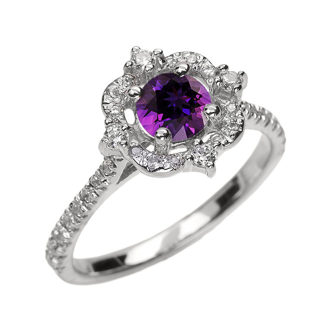 White Gold Genuine Amethyst And Diamond Dainty Engagement Proposal Ring