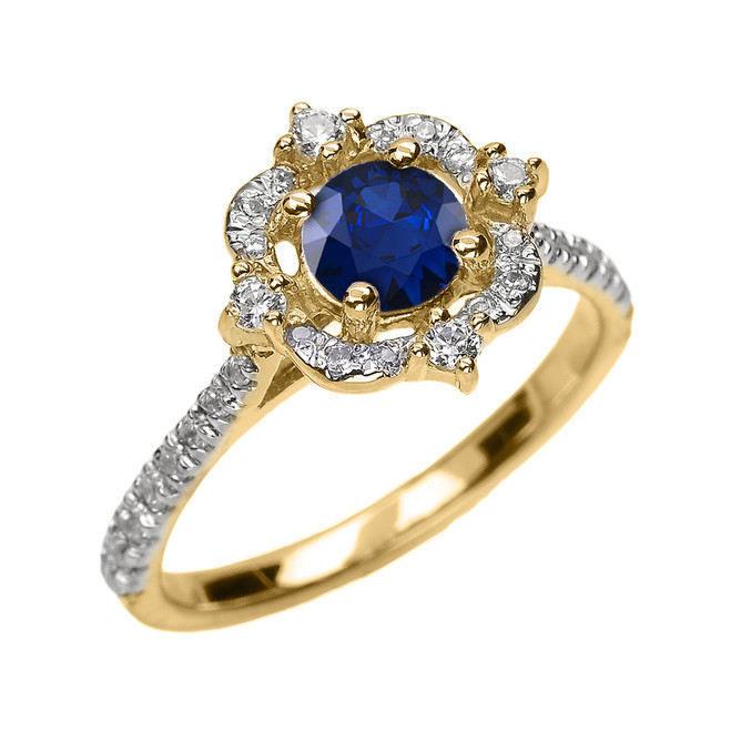Yellow Gold Genuine Sapphire And Diamond Dainty Engagement Proposal Ring