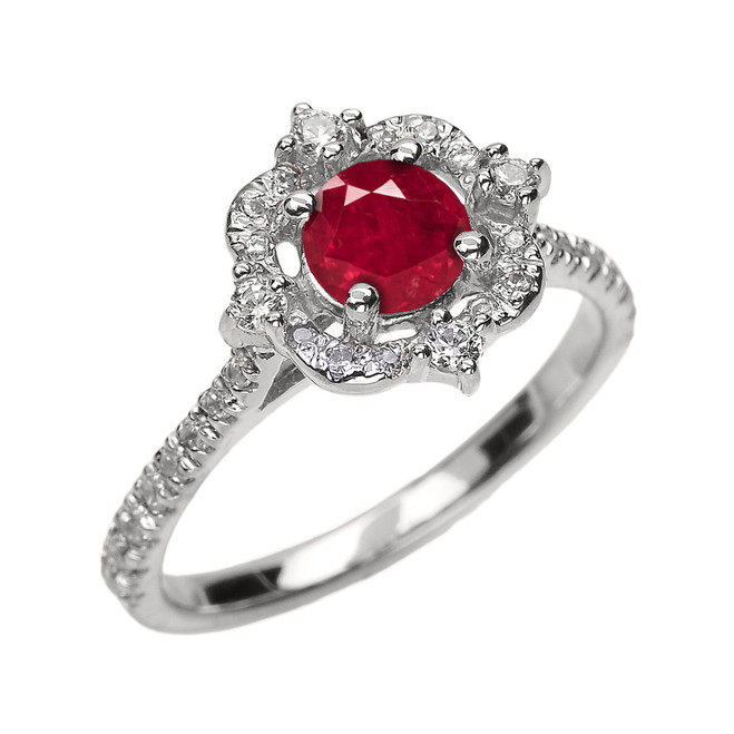 White Gold Genuine Ruby And Diamond Dainty Engagement Proposal Ring