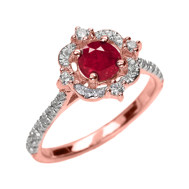 Rose Gold Genuine Ruby And Diamond Dainty Engagement Proposal Ring