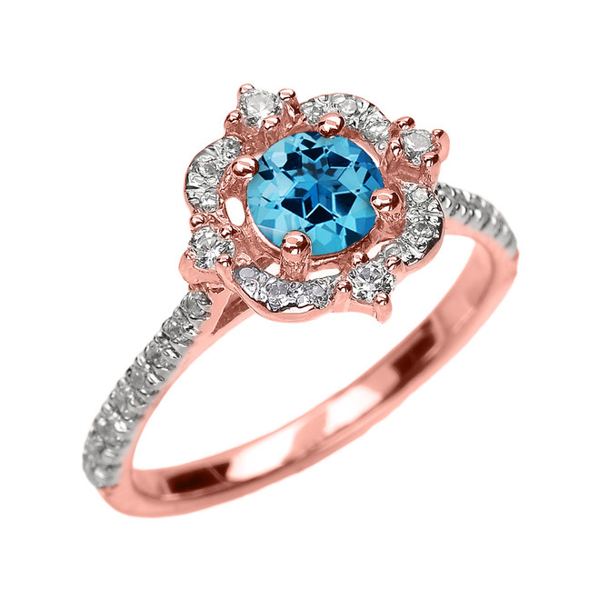 Rose Gold Genuine Blue Topaz And Diamond Dainty Engagement Proposal Ring