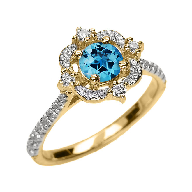 Yellow Gold Genuine Blue Topaz And Diamond Dainty Engagement Proposal Ring