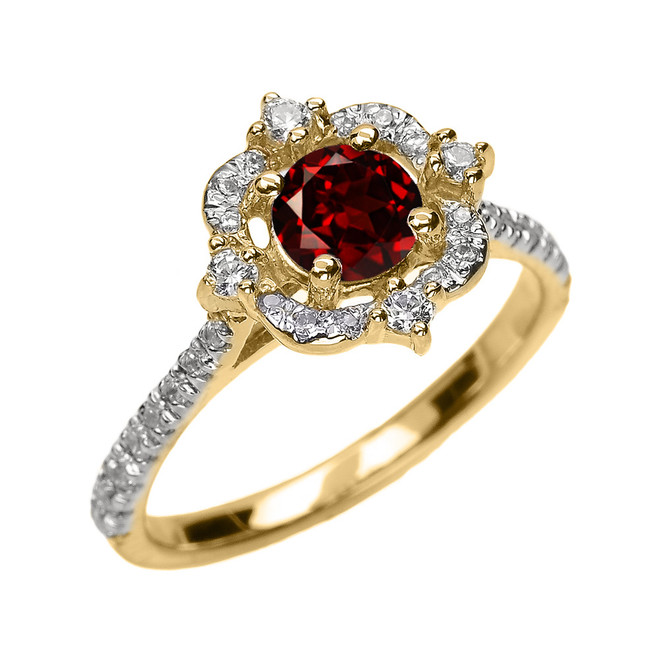 Yellow Gold Genuine Garnet And Diamond Dainty Engagement Proposal Ring