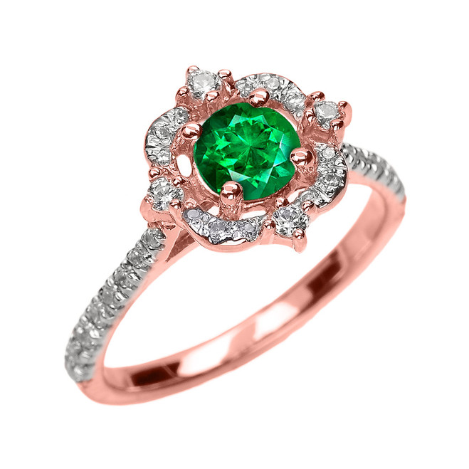 Rose Gold May Birthstone Green CZ And Diamond Dainty Engagement Proposal Ring