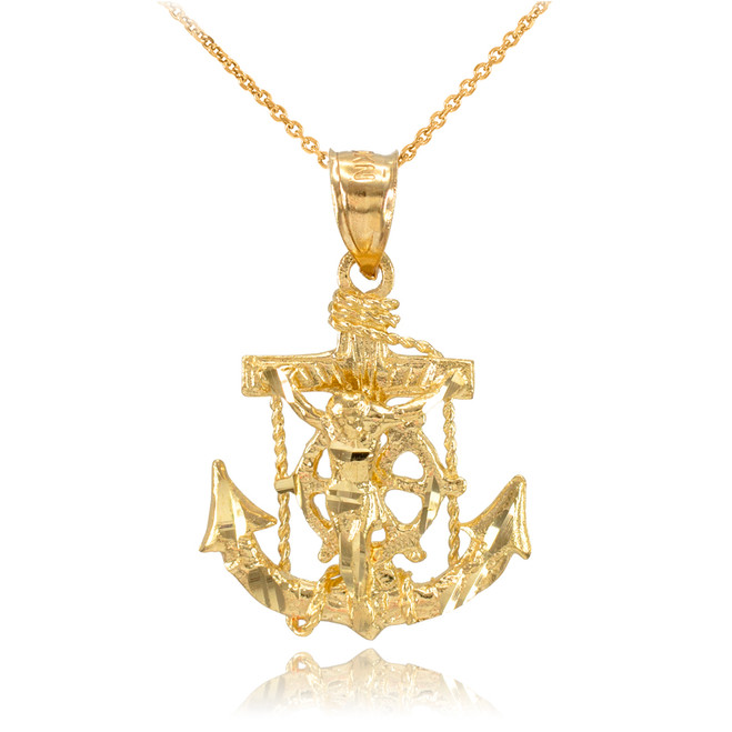 Gold Mariner Crucifix Anchor Cross Pendant Necklace
