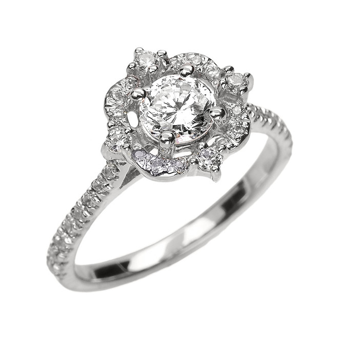 White Gold Genuine White Topaz And Diamond Dainty Engagement Proposal Ring