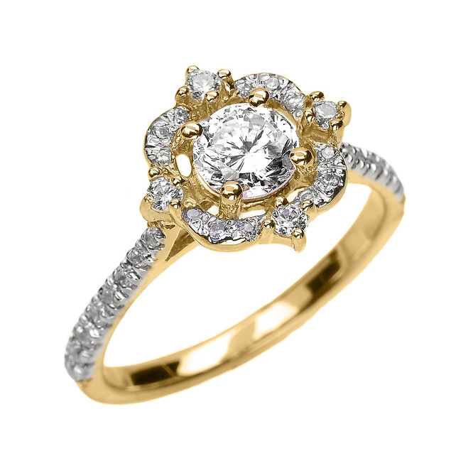 Yellow Gold Genuine White Topaz And Diamond Dainty Engagement Proposal Ring