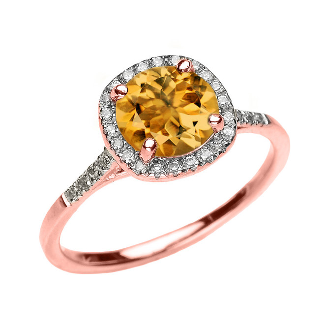 Rose Gold Halo Diamond and Genuine Citrine Dainty Engagement Proposal Ring