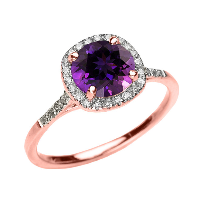Rose Gold Halo Diamond and Genuine Amethyst Dainty Engagement Proposal Ring