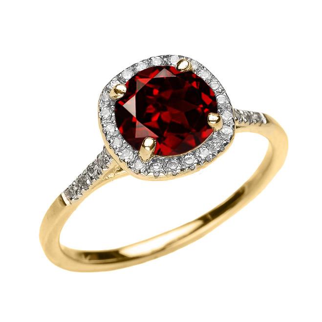 Yellow Gold Halo Diamond and Genuine Garnet Dainty Engagement Proposal Ring