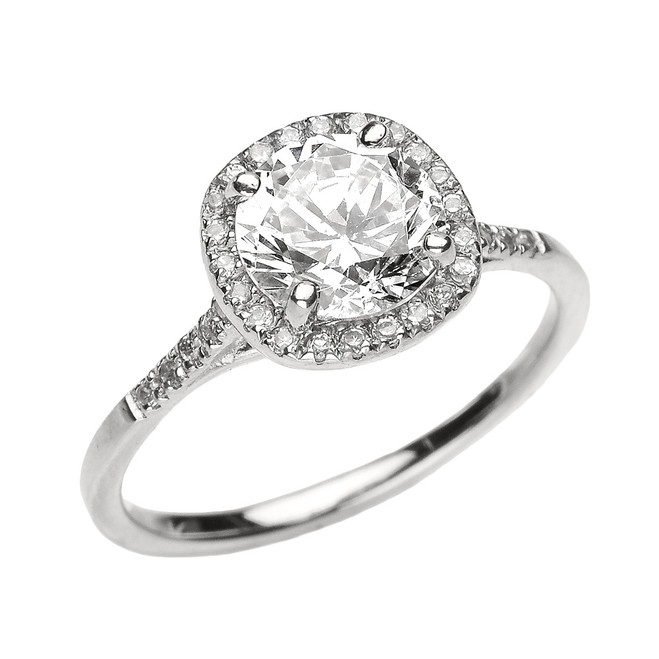 White Gold Halo Diamond and Genuine White Topaz Dainty Engagement Proposal Ring