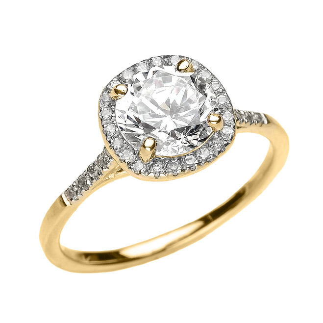 Yellow Gold Halo Diamond and Genuine White Topaz Dainty Engagement Proposal Ring