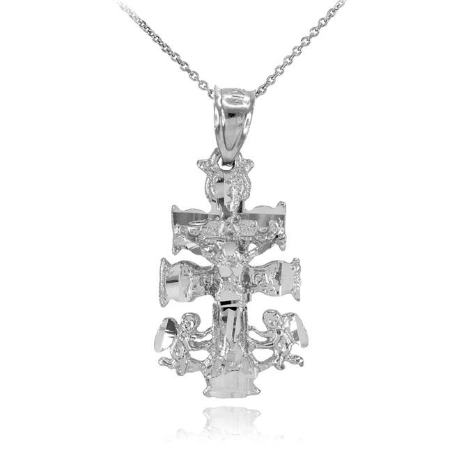 Silver Caravaca Crucifix Cross Charm Pendant Necklace