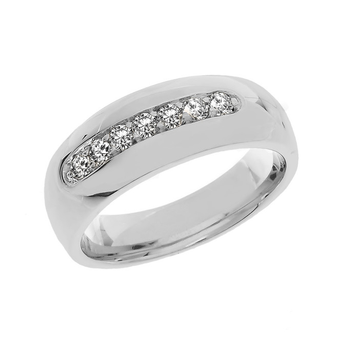 White Gold Diamond Men's Wedding Band Ring
