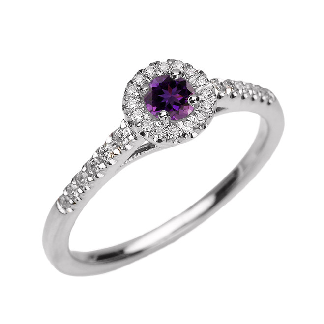 White Gold Diamond and Amethyst Dainty Engagement Proposal Ring