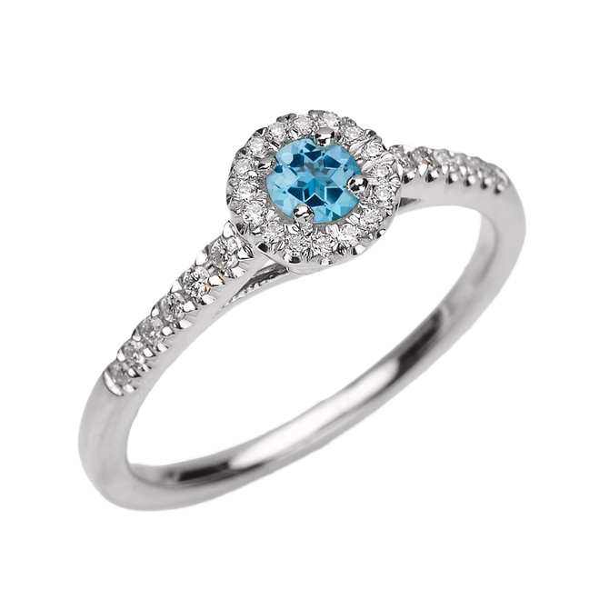 White Gold Diamond and Blue Topaz Dainty Engagement Proposal Ring