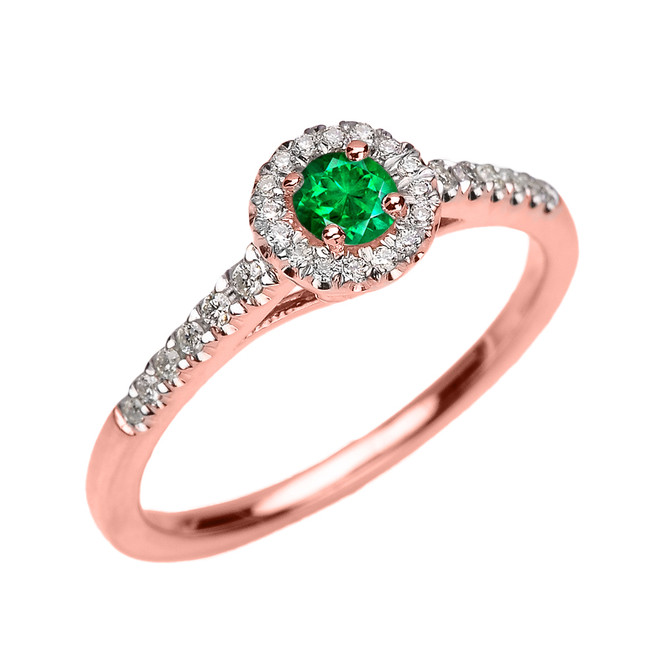 Rose Gold Diamond and Emerald Dainty Engagement Proposal Ring