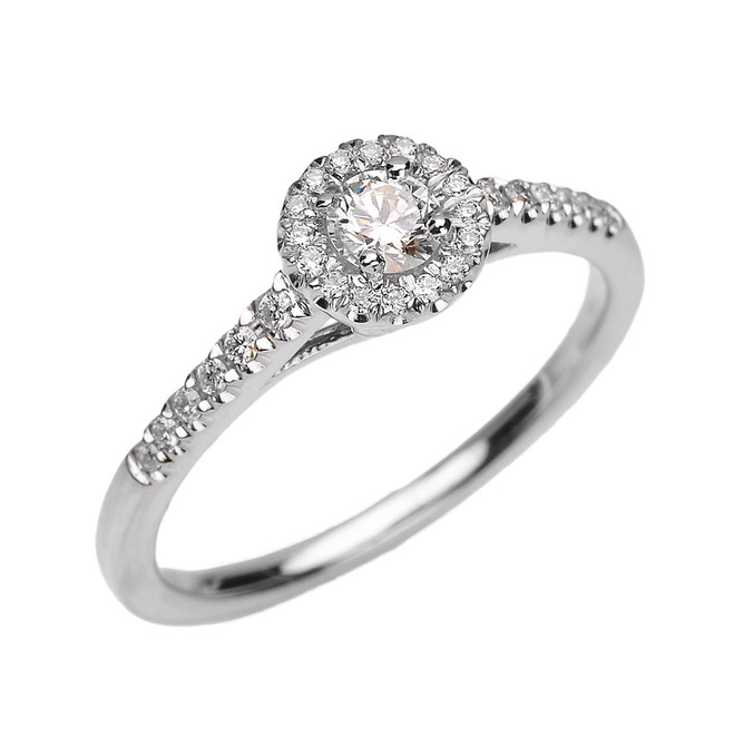 White Gold Diamond and White Topaz Dainty Engagement Proposal Ring