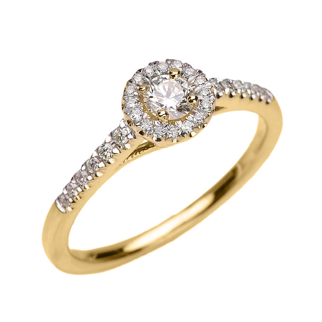 Yellow Gold Diamond and White Topaz Dainty Engagement Proposal Ring