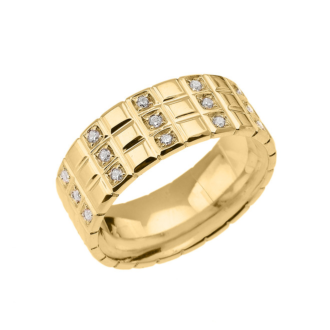 Yellow Gold Diamond Checkerboard Men's Wedding Band Ring