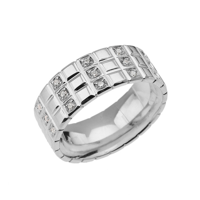 Sterling Silver White Topaz Checkerboard Men's Wedding Band Ring