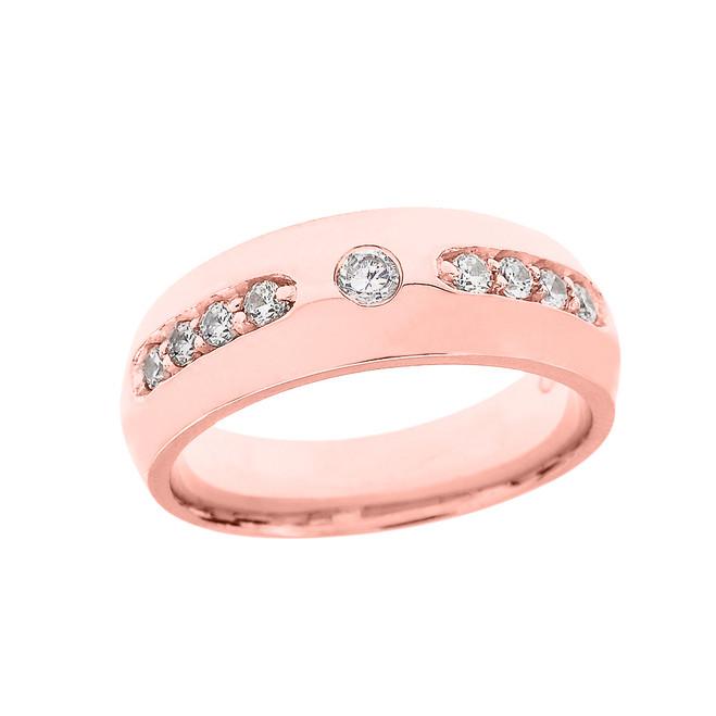 Rose Gold Diamond comfort Fit Men's Wedding Band Ring