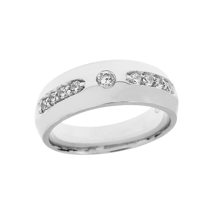 Sterling Silver White Topaz comfort Fit Men's Wedding Band Ring