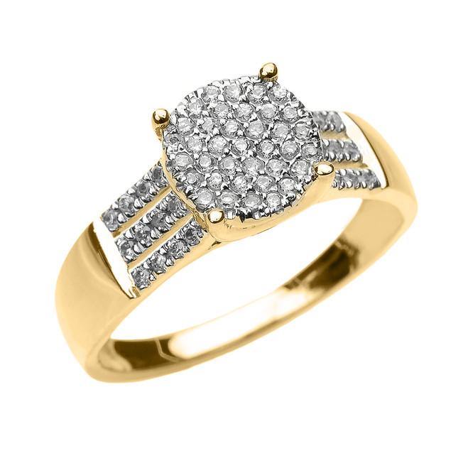 Elegant Yellow Gold Three Row Micro Pave Diamond Engagement Ring