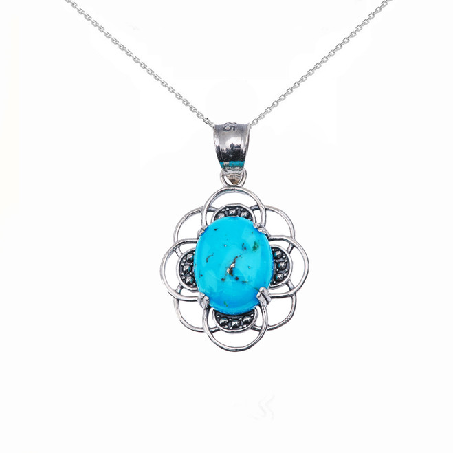 Turquoise Vintage Sterling Silver Pendant Necklace