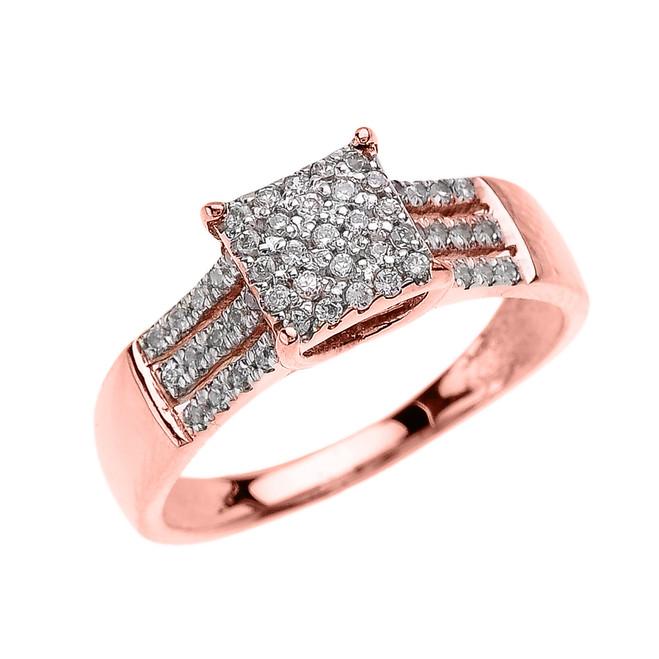 Beautiful Rose Gold Three Row Micro Pave Diamond Engagement Ring
