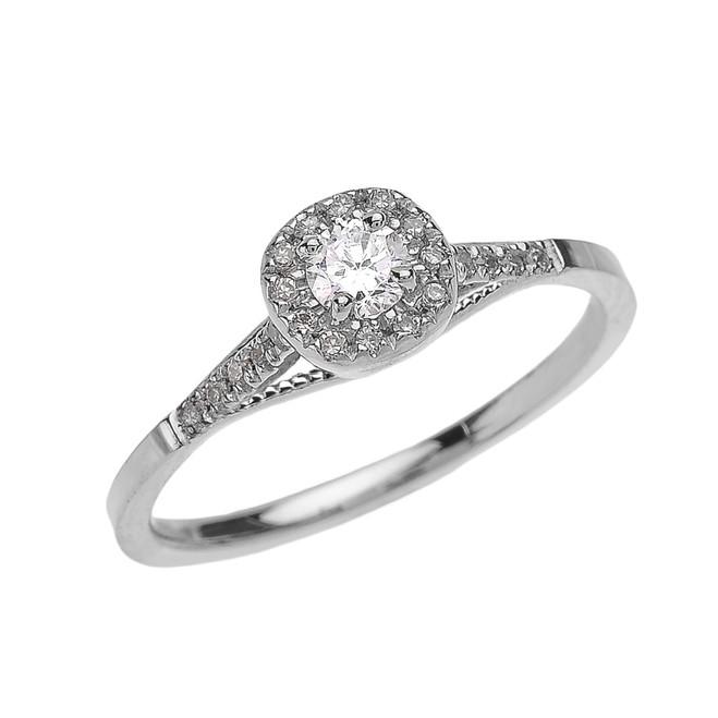 White Gold Cushion Shape Halo Diamond Engagement Milgrain Design Ring