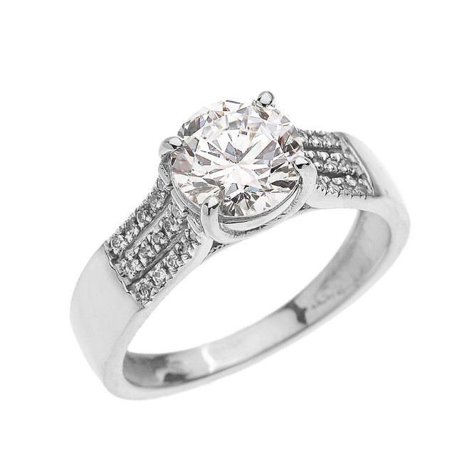 White Gold Three Row Micro Pave Diamond Set Engagement Ring with Center-stone CZ (Cubic Zirconia)