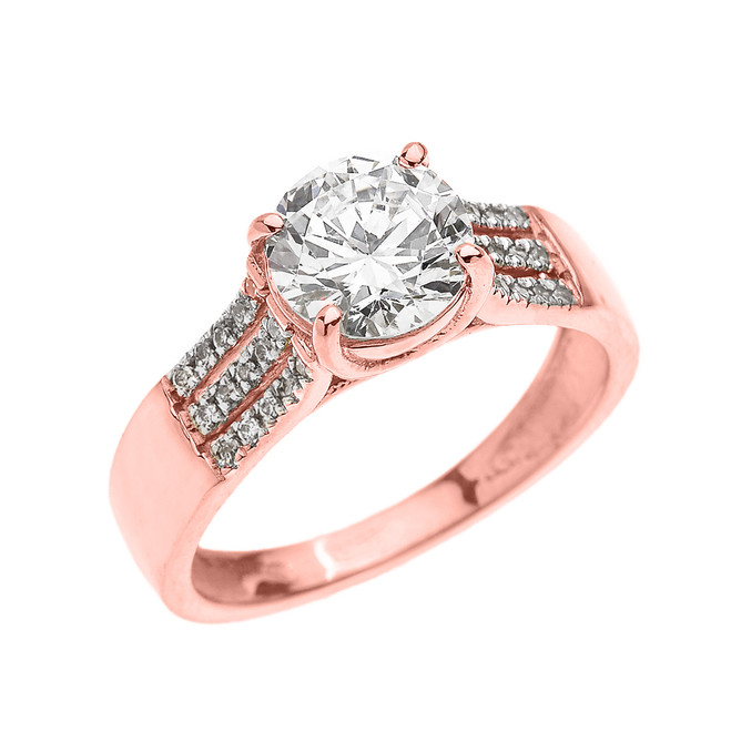 3 Carat Total Weight Cubic Zirconia Rose Gold Engagement and Proposal Ring (Micro Pave setting)