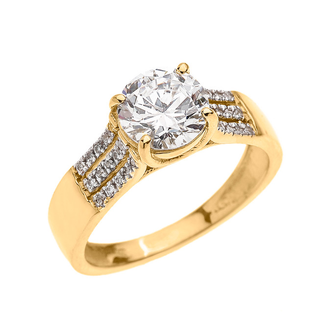 3 Carat Total Weight Cubic Zirconia Yellow Gold Engagement and Proposal Ring (Micro Pave setting)
