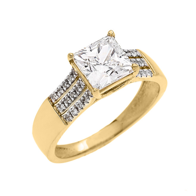 Yellow Gold Three Row Micro Pave Diamond Set Engagement Ring with Princess Cut Center-stone CZ (Cubic Zirconia)