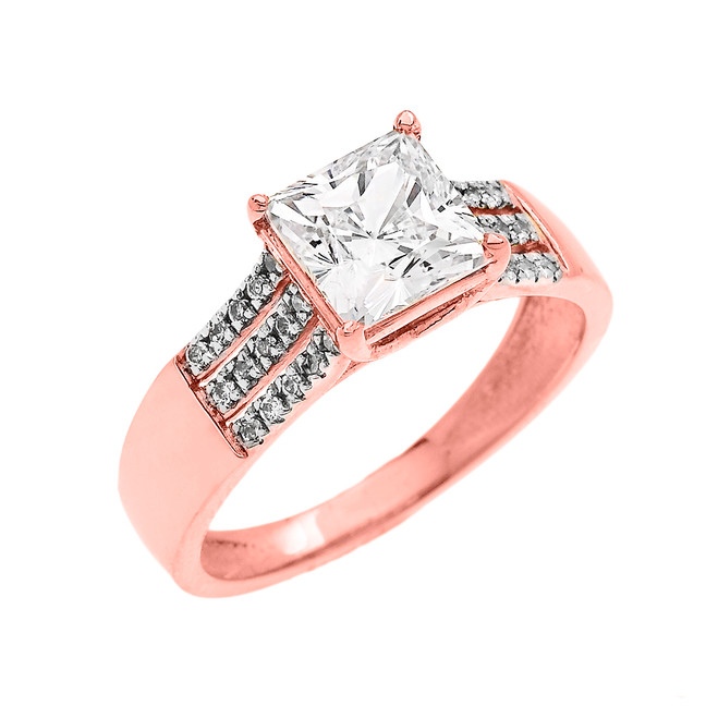3 Carat Total Weight Cubic Zirconia Princess Cut Center-Stone Rose Gold Engagement and Proposal Ring (Micro Pave setting)