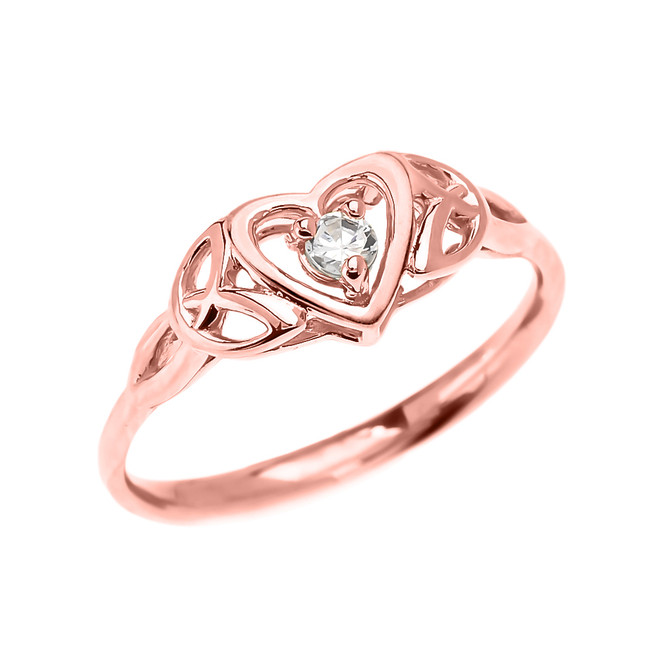 Trinity Knot Heart Solitaire Diamond Rose Gold Dainty Engagement Proposal Ring