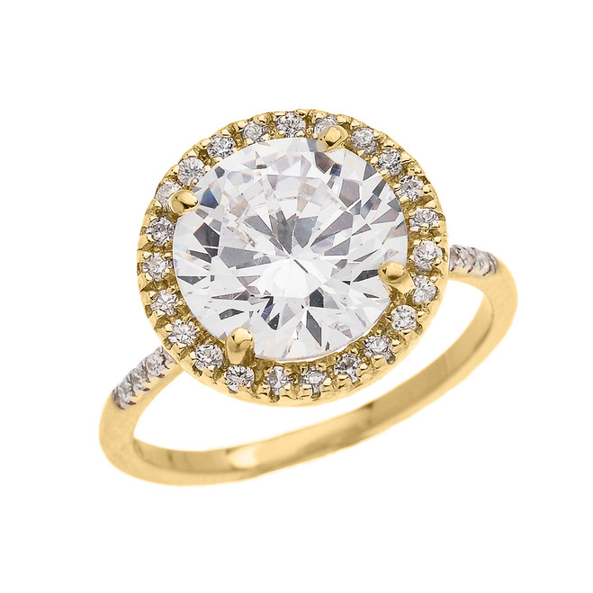 Diamond Halo & Round Cubic Zirconia Center  Micropave Engagement Ring in Yellow Gold
