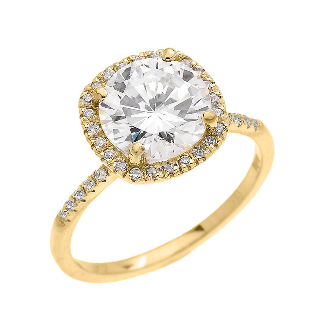 Cushion Shape Cubic Zirconia Center & Diamond Halo Micropave Engagement Ring in Yellow Gold
