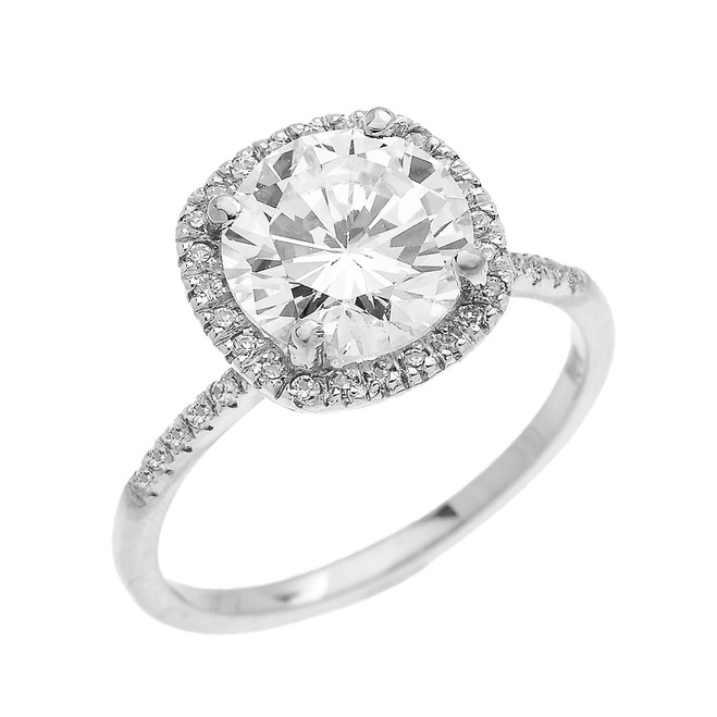 Cushion Shape Cubic Zirconia Halo Micropave Engagement Ring in White Gold
