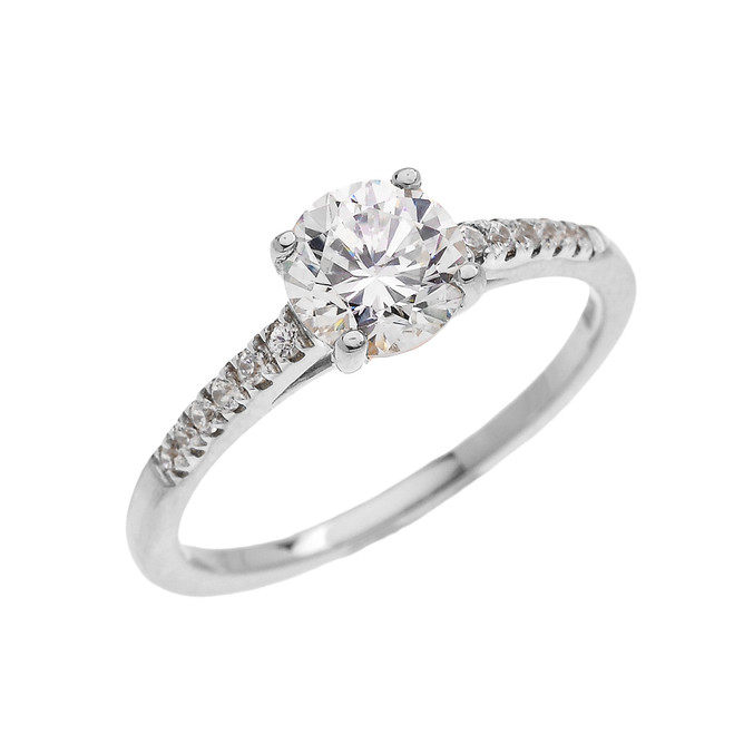 White Gold Dainty Diamond Proposal Solitaire Ring With Cubic Zirconia Center-stone (Micro Pave Setting)