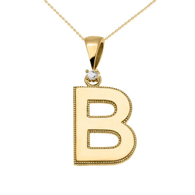 "Yellow Gold High Polish Milgrain Solitaire Diamond ""B"" Initial Pendant Necklace"