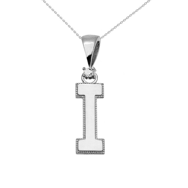 "White Gold High Polish Milgrain Solitaire Diamond ""I"" Initial Pendant Necklace"