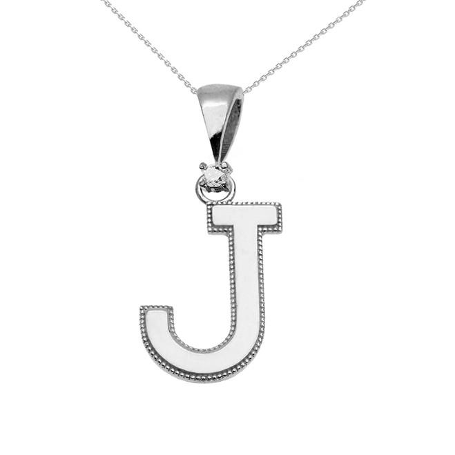 "White Gold High Polish Milgrain Solitaire Diamond ""J"" Initial Pendant Necklace"
