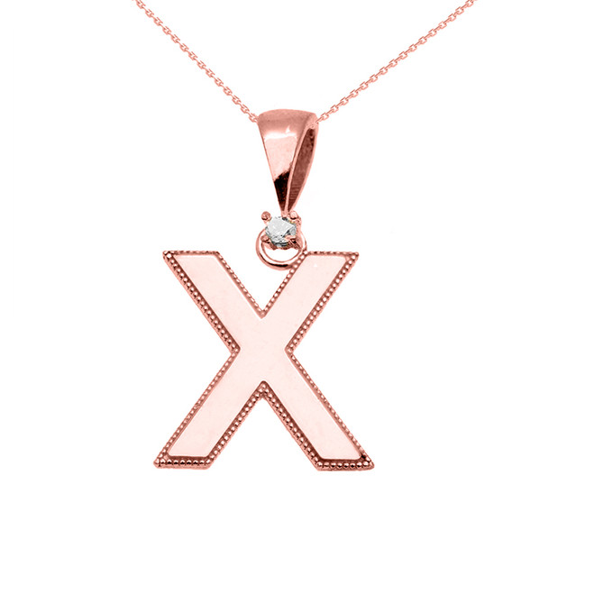"Rose Gold High Polish Milgrain Solitaire Diamond ""X"" Initial Pendant Necklace"